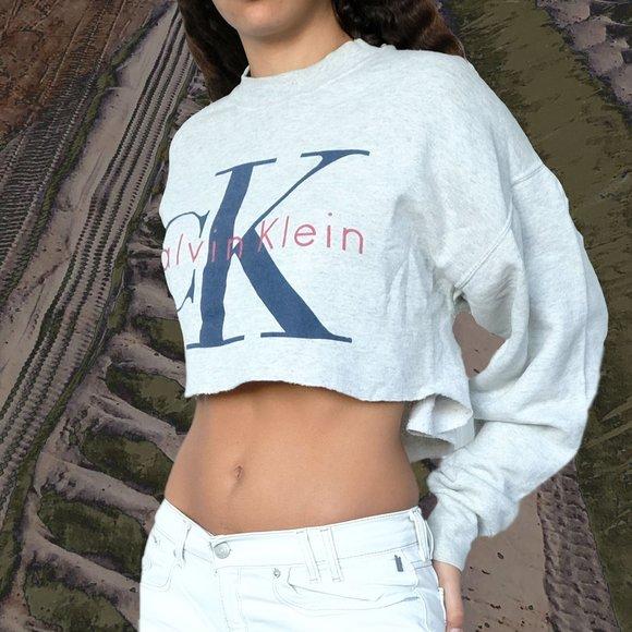 Cropped Calvin Klein Cotton Sweatshirt